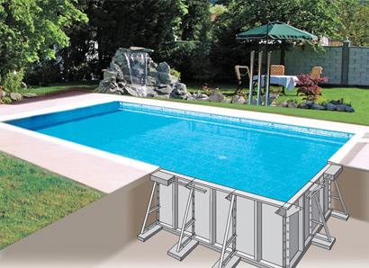 schema d'une piscine enterrée à panneaux